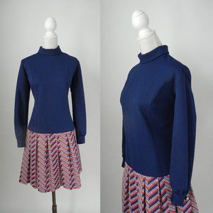 Vintage 1960 Blue and Red Flapper Style Dress